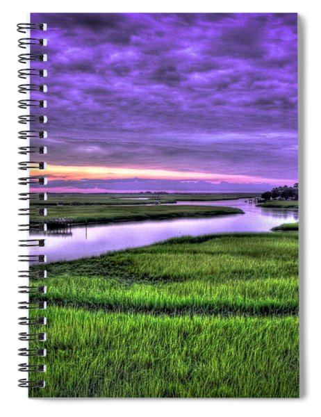 Sunset Over Turners Creek Savannah Tybee Island Ga Spiral Notebook