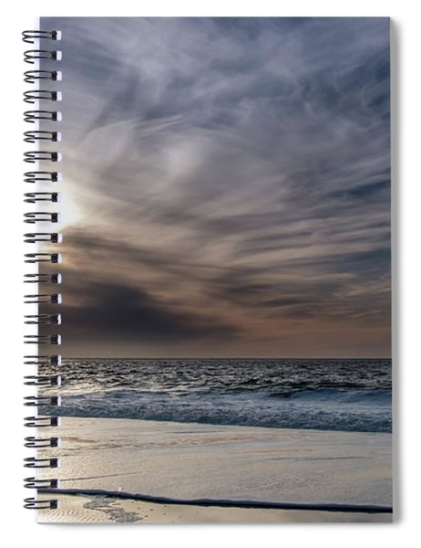 Sunset Over West Coast Beach With Silk Clouds In The Sky Spiral Notebook