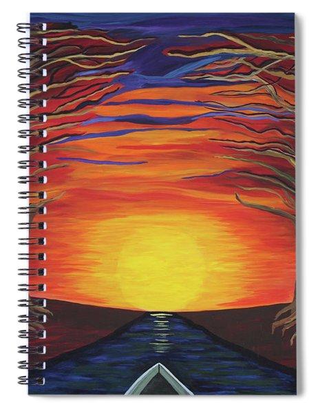 Treetop Sunset River Sail Spiral Notebook