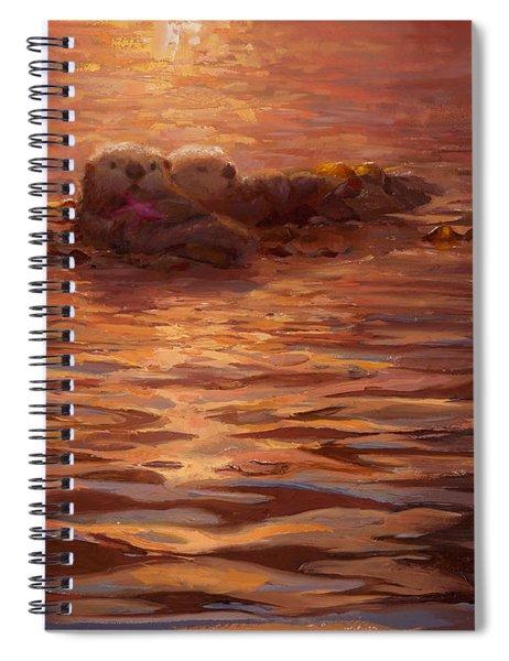 Sea Otters Floating With Kelp At Sunset - Coastal Decor - Ocean Theme - Beach Art Spiral Notebook