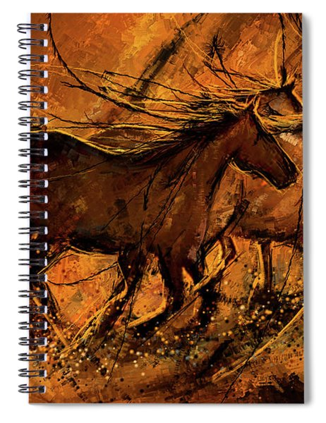 Sunset Stride - Horses In The Wild Sepia Painting Spiral Notebook