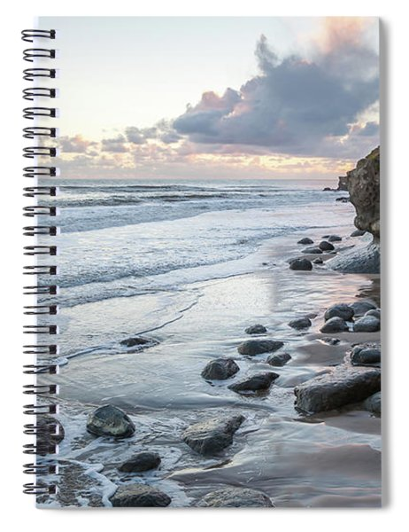 Sunset View In The Distance With Large Rocks On The Beach Spiral Notebook