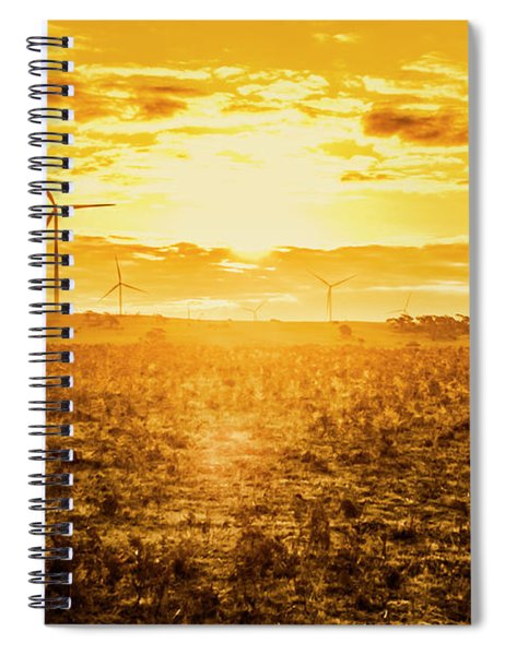 Sunsets And Golden Turbines Spiral Notebook