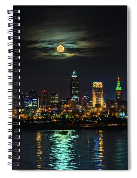 Super Full Moon Over Cleveland Spiral Notebook