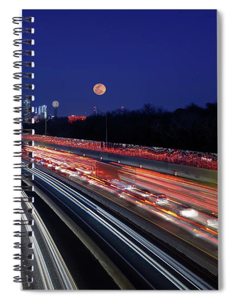 Super Moon And Dallas Texas Skyline Spiral Notebook