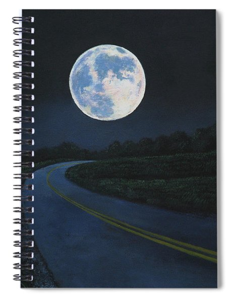 Super Moon At The End Of The Road Spiral Notebook