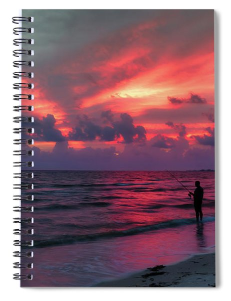 Surf Fishing At Sunset Spiral Notebook