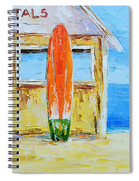 Surf Board Rental Shack At The Beach - Modern Impressionist Palette Knife Work Spiral Notebook