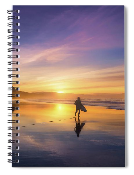 Surfer In Beach At Sunset Spiral Notebook