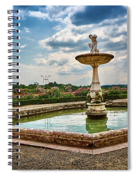 The Monkeys Fountain At The Gardens Of The Knight In Florence, Italy Spiral Notebook