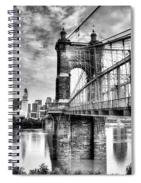 Suspension Bridge At Cincinnati Bw Spiral Notebook by Mel Steinhauer