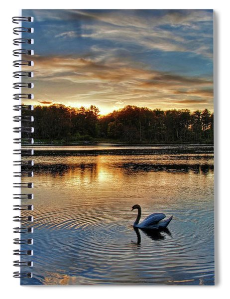 Swan At Sunset Spiral Notebook