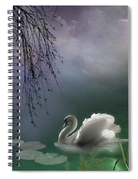Swan By Moonlight Spiral Notebook