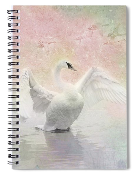 Spiral Notebook featuring the photograph Swan Dream - Display Spring Pastel Colors by Patti Deters