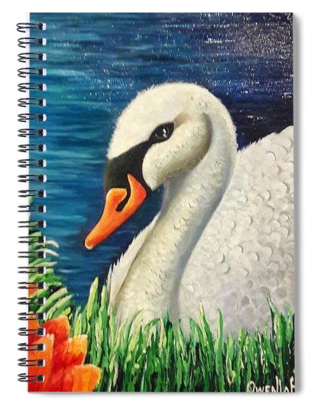 Swan In Pond Spiral Notebook