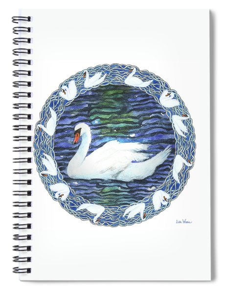 Swan With Knotted Border Spiral Notebook