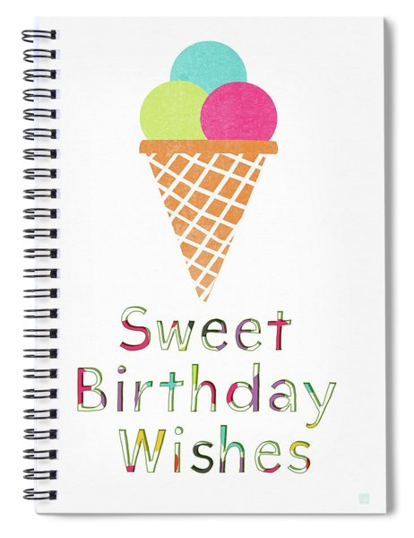 Sweet Birthday Wishes- Art By Linda Woods Spiral Notebook