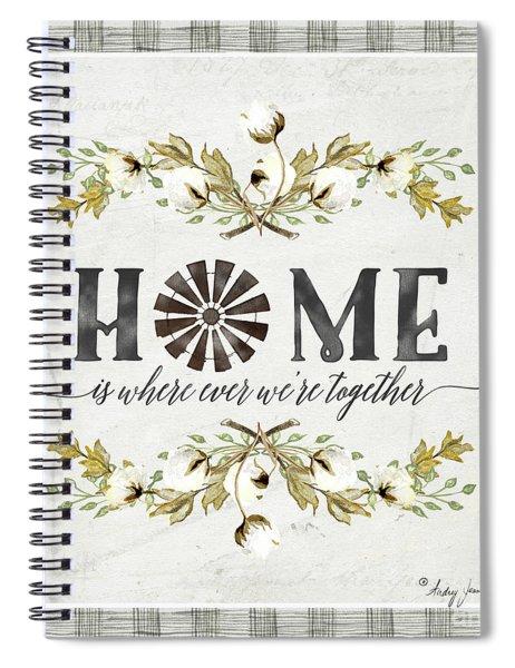 Sweet Life Farmhouse 5 Home Windmill Cotton Boll Laurel Leaf Buffalo Check Plaid Spiral Notebook