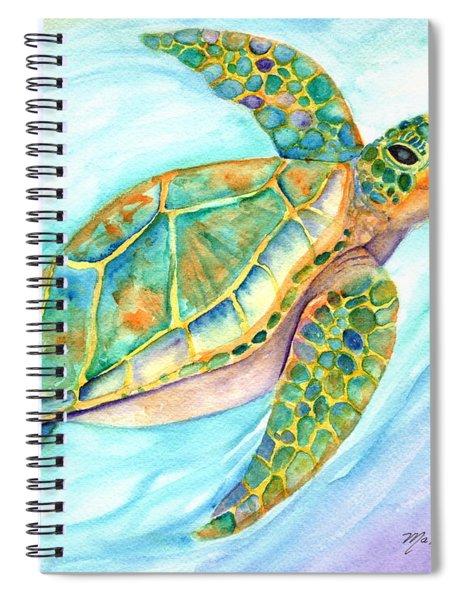 Swimming, Smiling Sea Turtle Spiral Notebook