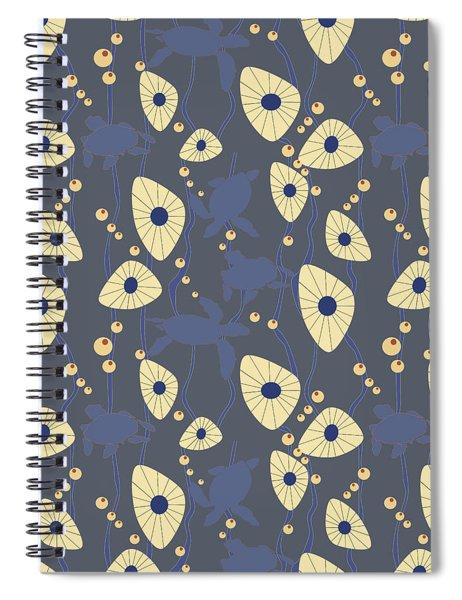 Swimming Turtles Blue Spiral Notebook