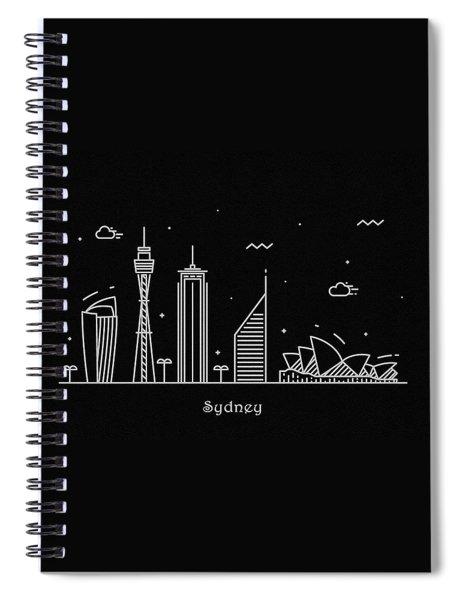 Sydney Skyline Travel Poster Spiral Notebook