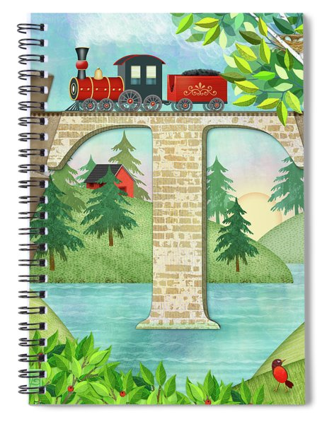 T Is For Train And Train Trestle Spiral Notebook