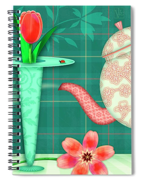 T Is For Two Tulips With Tea Spiral Notebook
