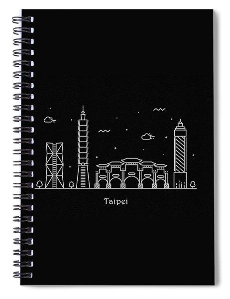 Taipei Skyline Travel Poster Spiral Notebook