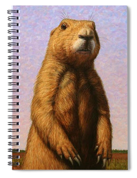 Spiral Notebook featuring the painting Tall Prairie Dog by James W Johnson