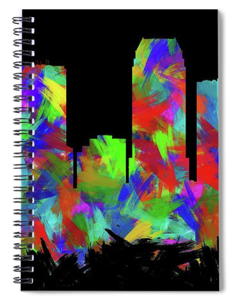 Tampa Skyline Silhouette Abstract II Spiral Notebook