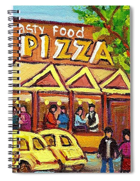 Tasty Food Pizza On Decarie Blvd Spiral Notebook