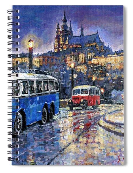 Tatra 85-91bus 1938 Praha Rnd Bus 1950 Prague Manesuv Bridge Spiral Notebook