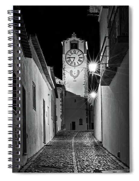 Spiral Notebook featuring the photograph Tavira Church Bell Tower At Night - Portugal by Barry O Carroll