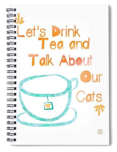 Tea And Cats Square Spiral Notebook