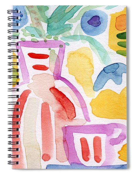 Tea And Flowers 2- Art By Linda Woods Spiral Notebook