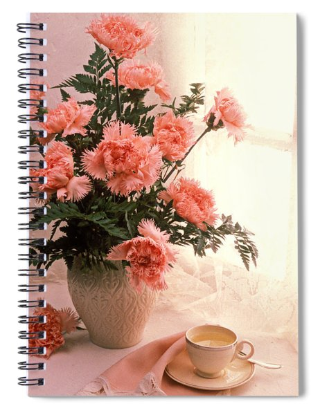 Tea Cup With Pink Carnations Spiral Notebook