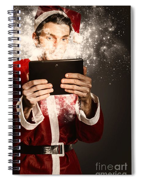 Tech Santa Browsing Online With Magical Tablet Spiral Notebook