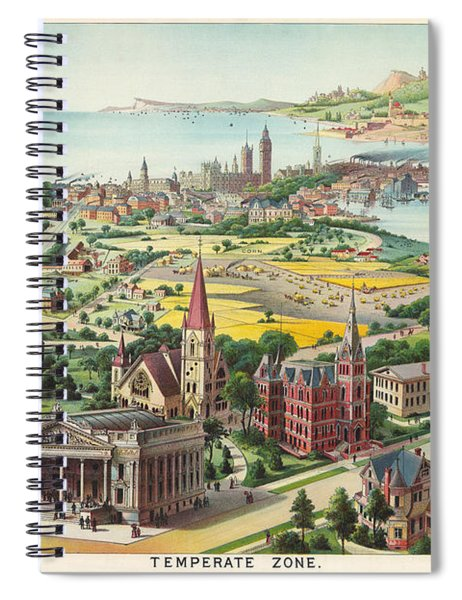 Temperate Zone - Old Historic Atlas - Illustrated Chart - City Scene - Human Settlements - Coastal Spiral Notebook