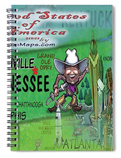 Tennessee Fun Map Spiral Notebook