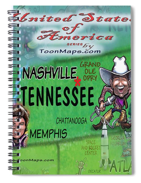 Tennessee Fun Map Spiral Notebook
