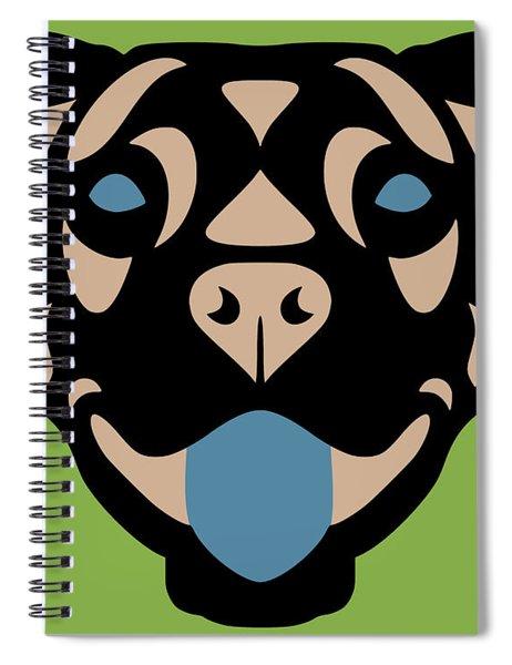 Spiral Notebook featuring the digital art Terrier Terry - Dog Design - Greenery, Hazelnut, Niagara Blue by Manuel Sueess