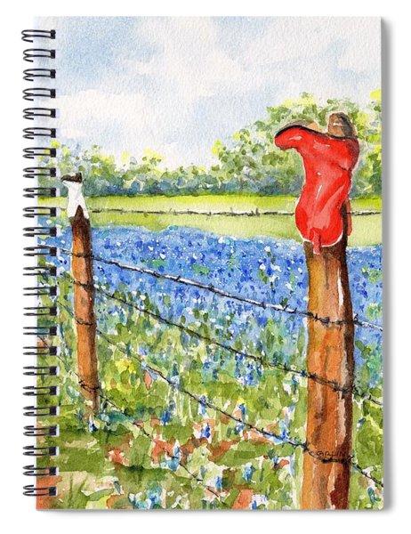 Texas Bluebonnets Boot Fence Spiral Notebook
