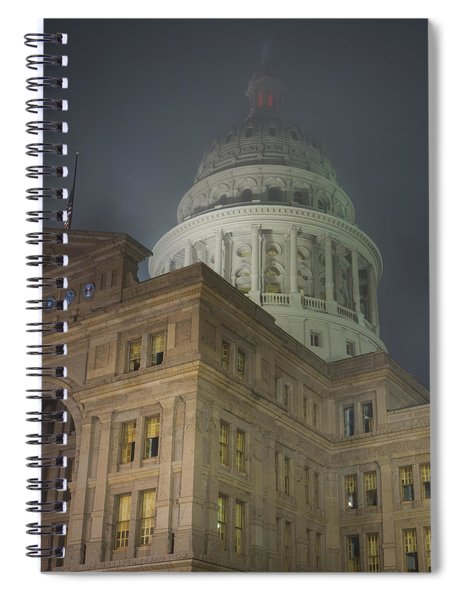 Texas Capitol In Fog Spiral Notebook