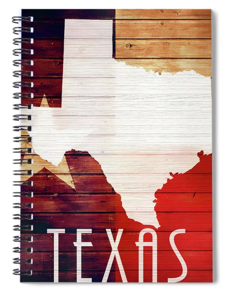 Texas Rustic Map On Wood Spiral Notebook