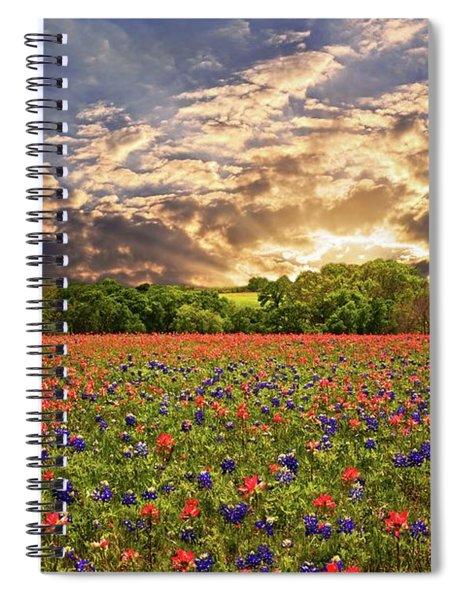 Texas Wildflowers Under Sunset Skies Spiral Notebook