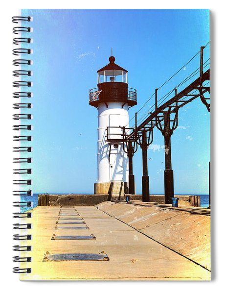 Textured St Joseph Lighthouse Michigan Spiral Notebook