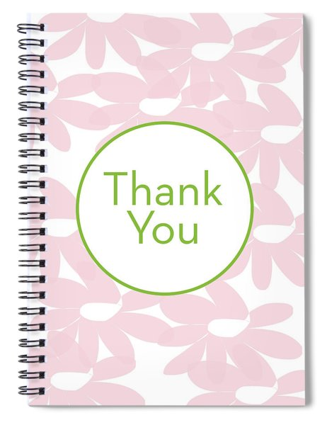 Thank You Card Pink Flowers- Art By Linda Woods Spiral Notebook