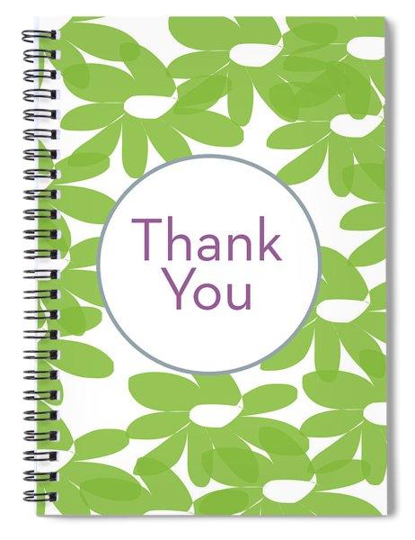 Thank You Green Flowers- Art By Linda Woods Spiral Notebook