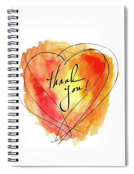 Thank You Notecard Red Orange Watercolor Heart Spiral Notebook