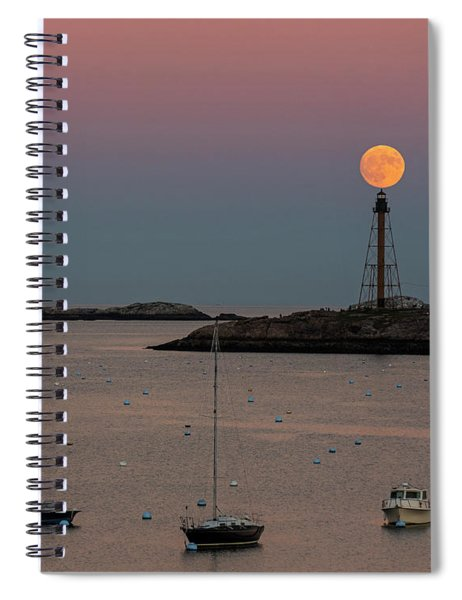 The 2016 Supermoon Balancing On The Marblehead Light Tower In Marblehead Ma Spiral Notebook